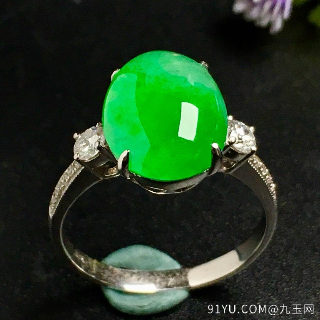 冰阳绿戒指,色阳,戒指内圈17裸石尺寸12-9.5-5,特惠价第3张