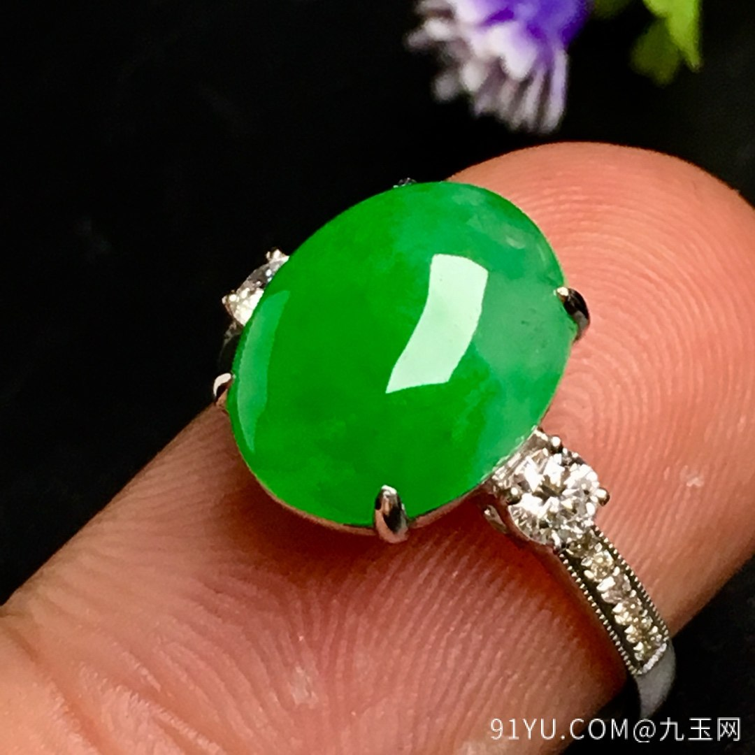 冰阳绿戒指,色阳,戒指内圈17裸石尺寸12-9.5-5,特惠价第8张