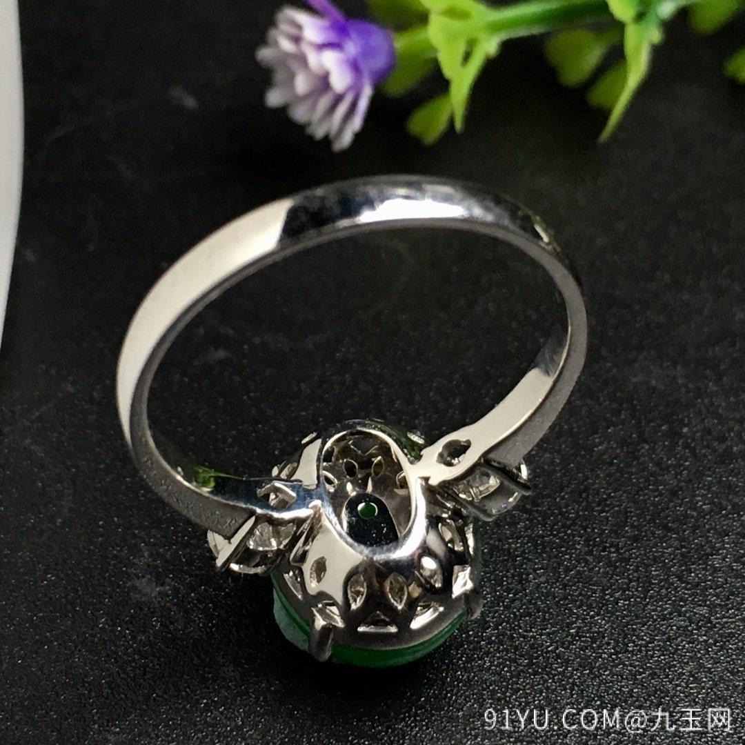冰阳绿戒指,色阳,戒指内圈17裸石尺寸12-9.5-5,特惠价第6张