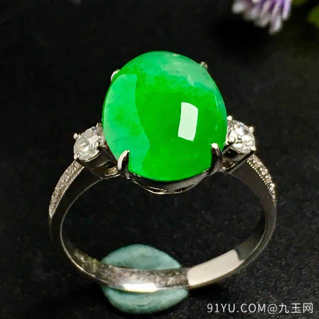 冰阳绿戒指,色阳,戒指内圈17裸石尺寸12-9.5-5,特惠价第4张