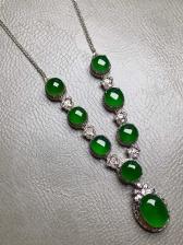 高冰纯帝王绿项链,裸石尺寸8.8/6.6/3.1mm,5.2/5.1/2.8mm