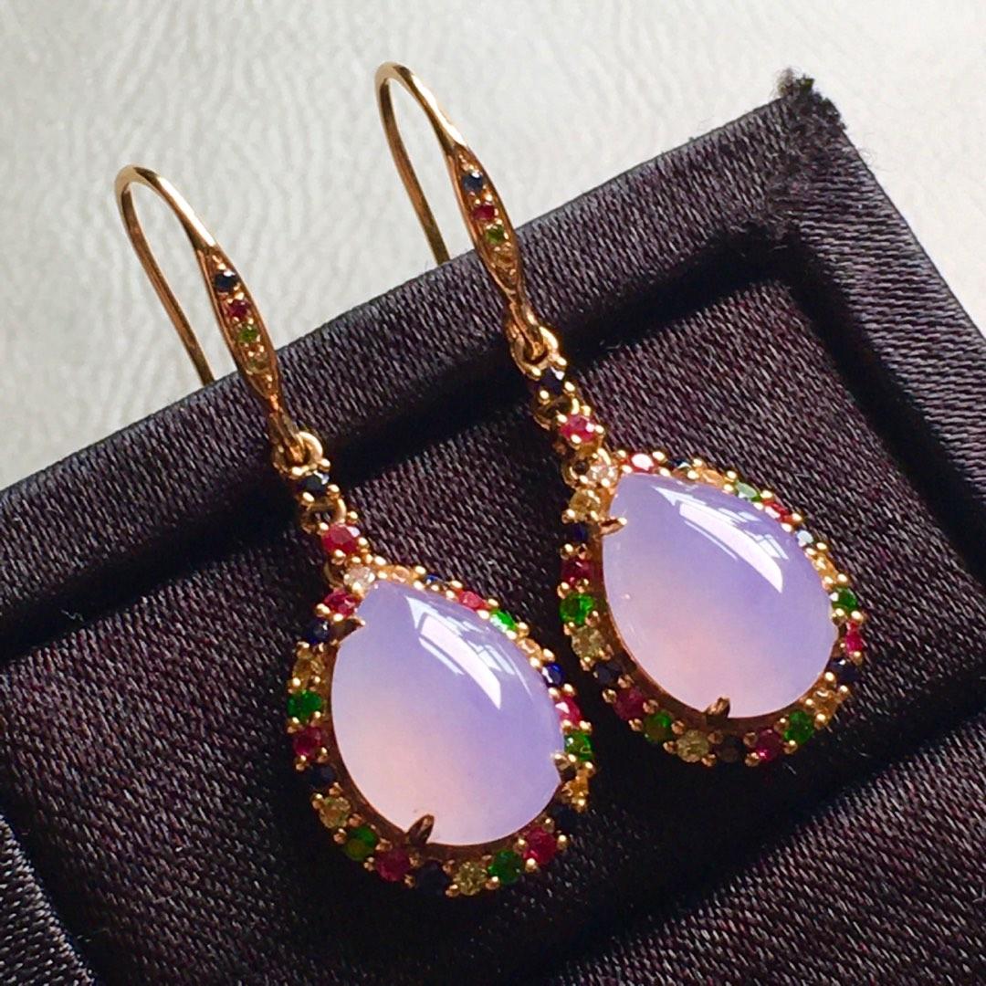 高冰紫羅蘭水滴耳環,裸石尺寸11/8.2/4mm