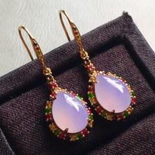 高冰紫罗兰水滴耳环,裸石尺寸11/8.2/4mm