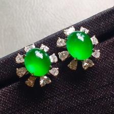 高冰荧光绿蛋面耳钉,裸石尺寸6.4/5.3/4mm