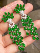 高冰正阳绿大耳环,18k金奢华钻石镶嵌
