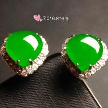高冰正阳绿耳钉,18k金奢华钻石镶嵌
