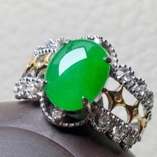 冰种阳绿蛋面戒指,裸石:10-7.6-3.5mm