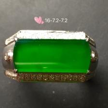 帝王绿男士马鞍戒指,18k金奢华钻石镶嵌