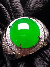 高冰阳绿男士戒指 ,18k金钻镶嵌