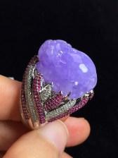 冰紫貔貅戒指,裸石尺寸:21.1/16.5/8.9