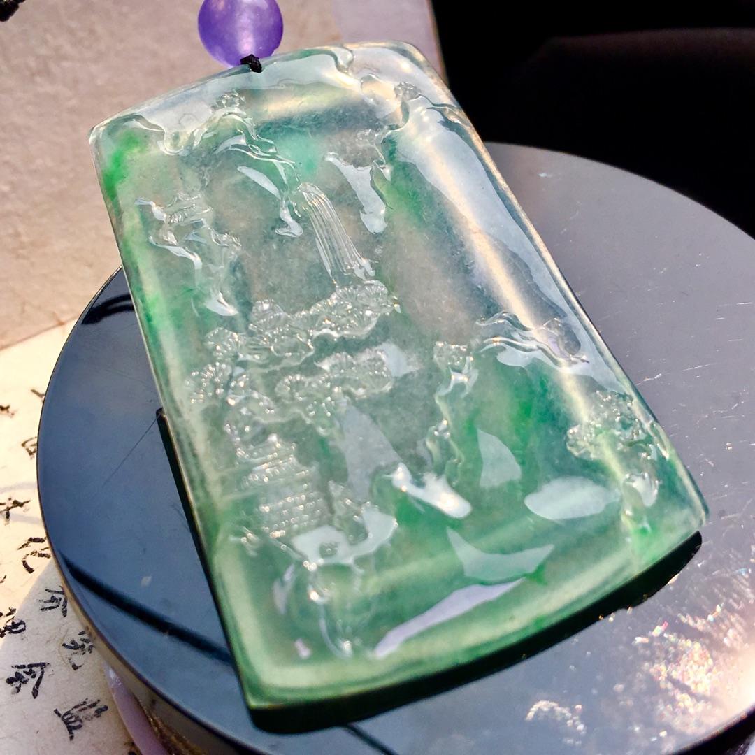 高冰飘绿山水牌,尺寸:60-42.5-5.3