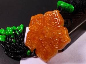 冰糯红翡雕花福运牌➕花件项链,完美度达95%以上,超值捡漏价