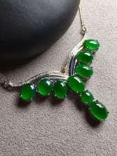 帝王绿蛋面晚装项链,冰透,完美裸石:8-6-3