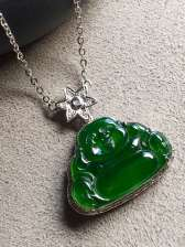 帝王绿锁骨项链,高冰透,优雅完美。裸石:18.3-13.2-3