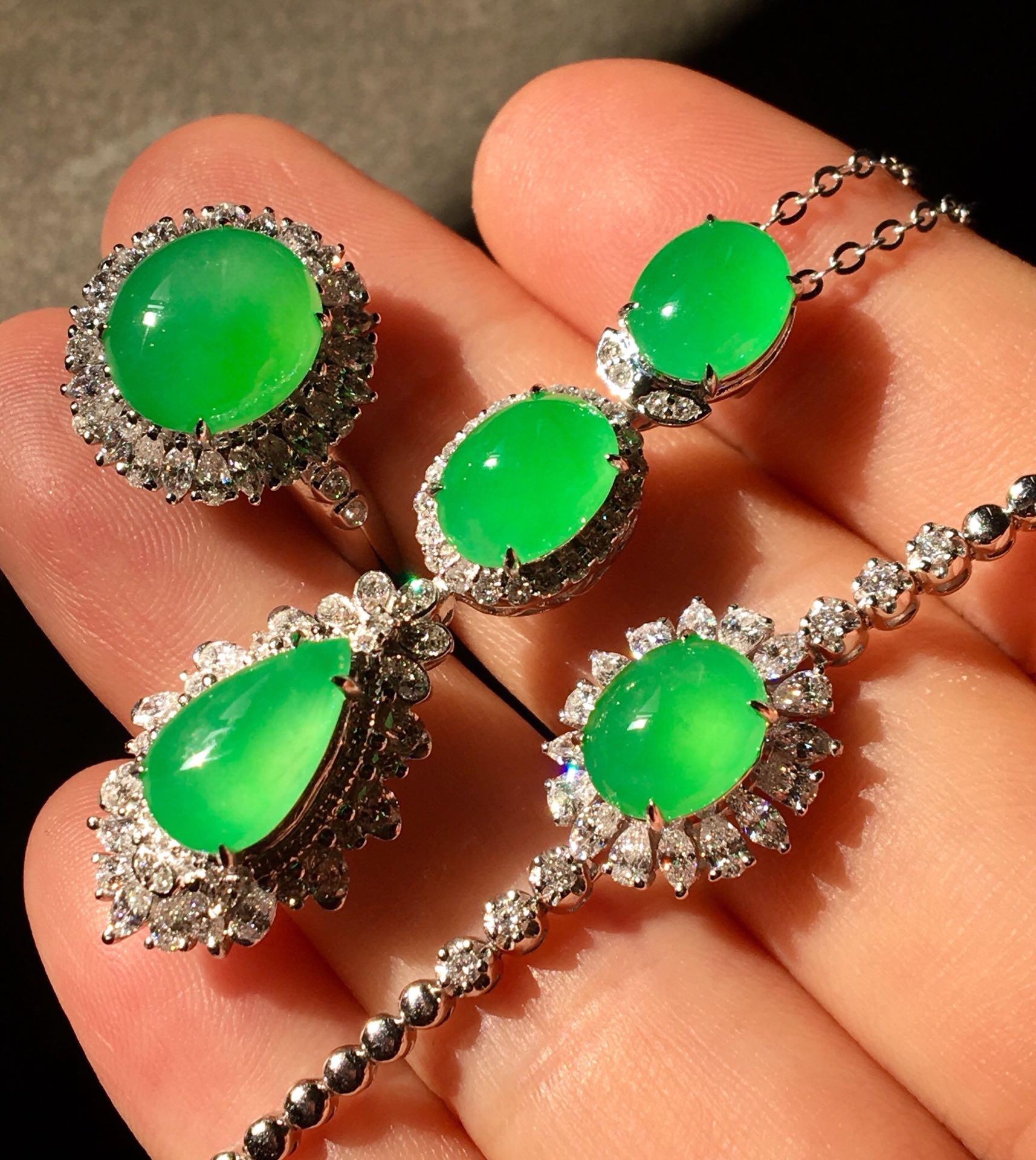 高冰阳绿套装,手链➕项链➕戒指