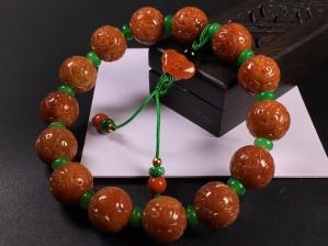冰糯红翡雕花圆珠手链,完美度达95%以上,超值捡漏价,