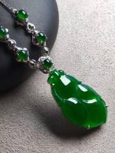 价❤帝王绿金鱼锁骨项链,色辣,完美裸石:28-15.5-3