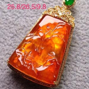 【红翡 山水牌】种好色阳 完美无暇18k金奢华钻石镶嵌 性价比高