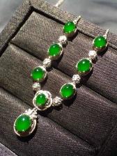 价❤帝王绿蛋面晚装项链,色辣,完美裸石:7.8-5.6-4