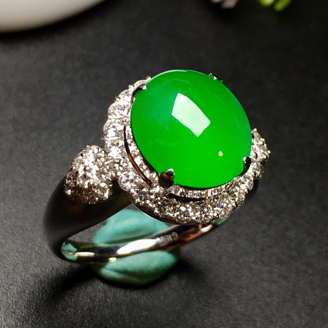 冰阳绿戒指,色阳,饱满,内圈17,裸石尺寸10.8-10-4