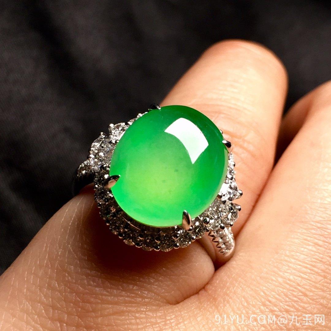 冰绿戒指,色阳,饱满,内圈17,裸石尺寸14-11.5-5第5张