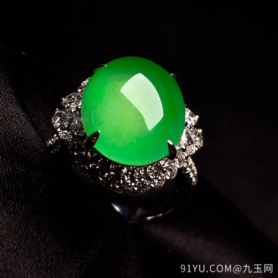 冰绿戒指,色阳,饱满,内圈17,裸石尺寸14-11.5-5第3张
