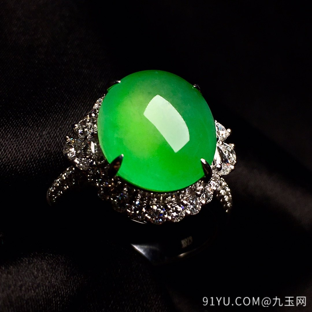 冰绿戒指,色阳,饱满,内圈17,裸石尺寸14-11.5-5第1张