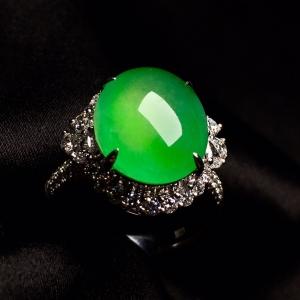 冰绿戒指,色阳,饱满,内圈17,裸石尺寸14-11.5-5