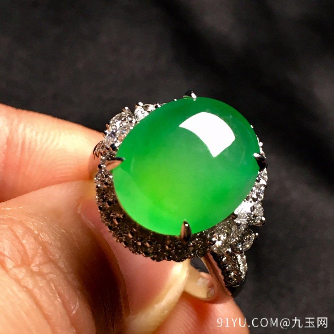 冰绿戒指,色阳,饱满,内圈17,裸石尺寸14-11.5-5第6张