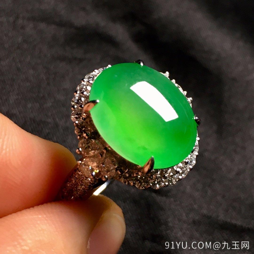 冰绿戒指,色阳,饱满,内圈17,裸石尺寸14-11.5-5第4张
