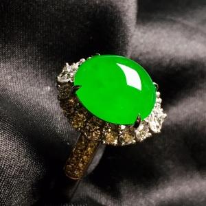 冰阳绿戒指,色阳,饱满,戒指内圈17裸石尺寸11.3-10.5-5