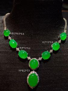 【高冰正阳绿,晚装链】大件饱满,翠色娇艳,高贵优雅,很冰透,水润水细腻,完美,18k金华奢钻镶石嵌☕