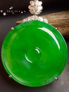 【平安扣,冰正阳绿】很冰透,水润水细腻,完美,18k金华奢钻镶石嵌☕