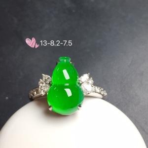 【葫芦戒指,冰正阳绿】通透,润水细腻,完美,18k金华奢钻镶石嵌☕