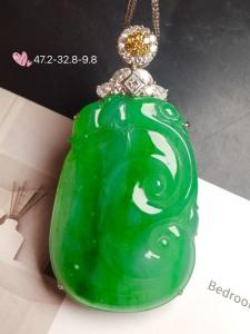 【大如意,冰正阳绿】通透,润水细腻,完美,18k金华奢钻镶石嵌☕
