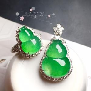 【葫芦套装,冰正阳绿】通透,润水细腻,完美,18k金华奢钻镶石嵌☕