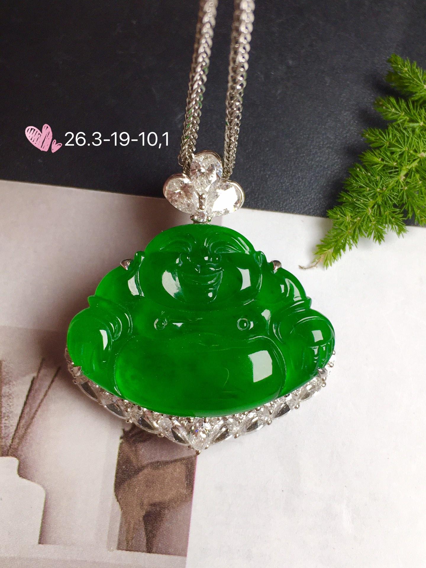 价:【佛,冰正阳绿】通透,润水细腻,完美,18k金华奢钻镶石嵌☕