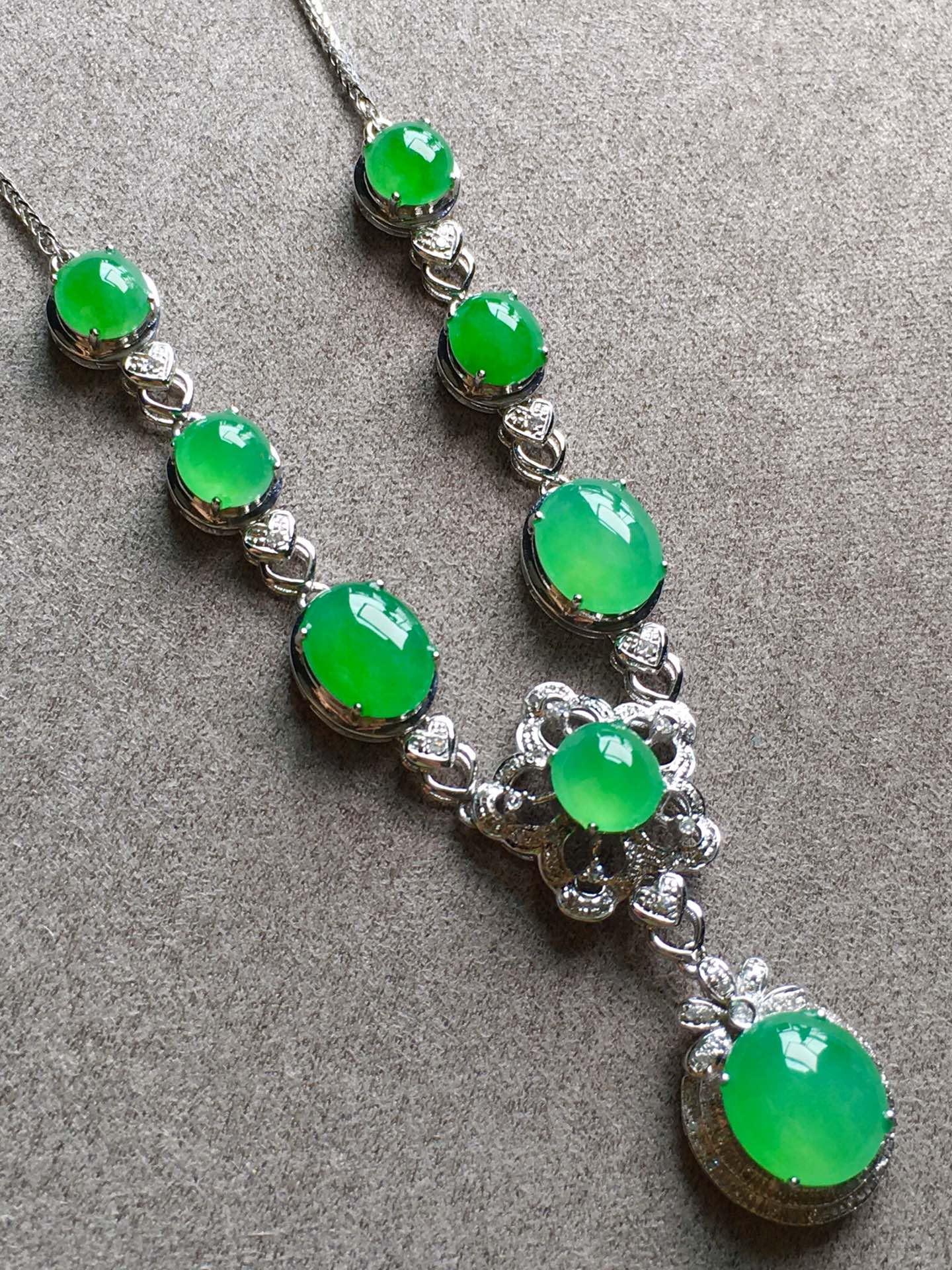 高冰正陽綠項鏈,裸石尺寸取大9/8/4mm,取.3/5/3.5mm