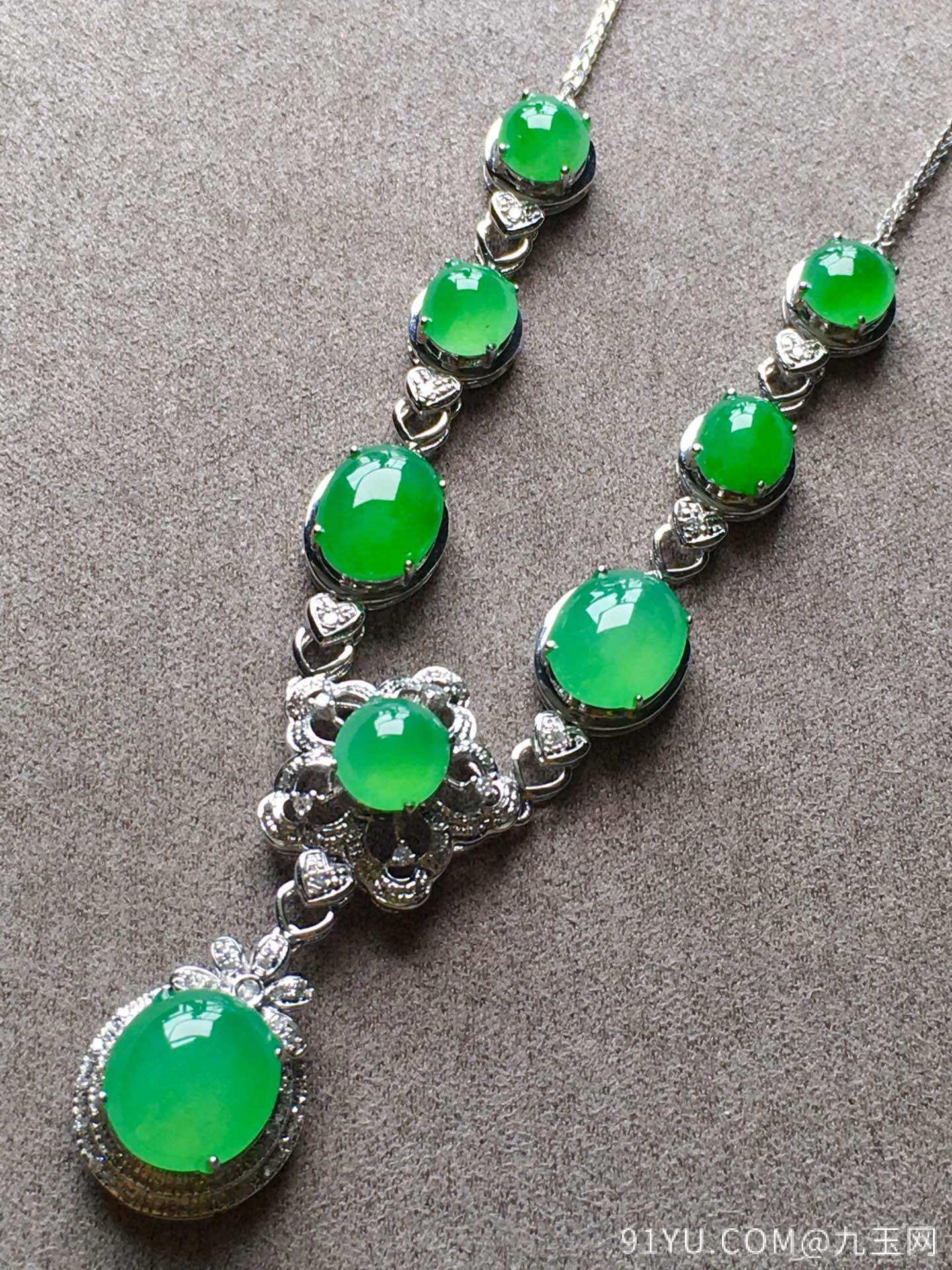 高冰正阳绿项链,裸石尺寸取大9/8/4mm,取.3/5/3.5mm第4张