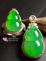 套【葫芦套装,冰正阳绿】通透,水润,完美,18k金华奢钻镶石嵌☕