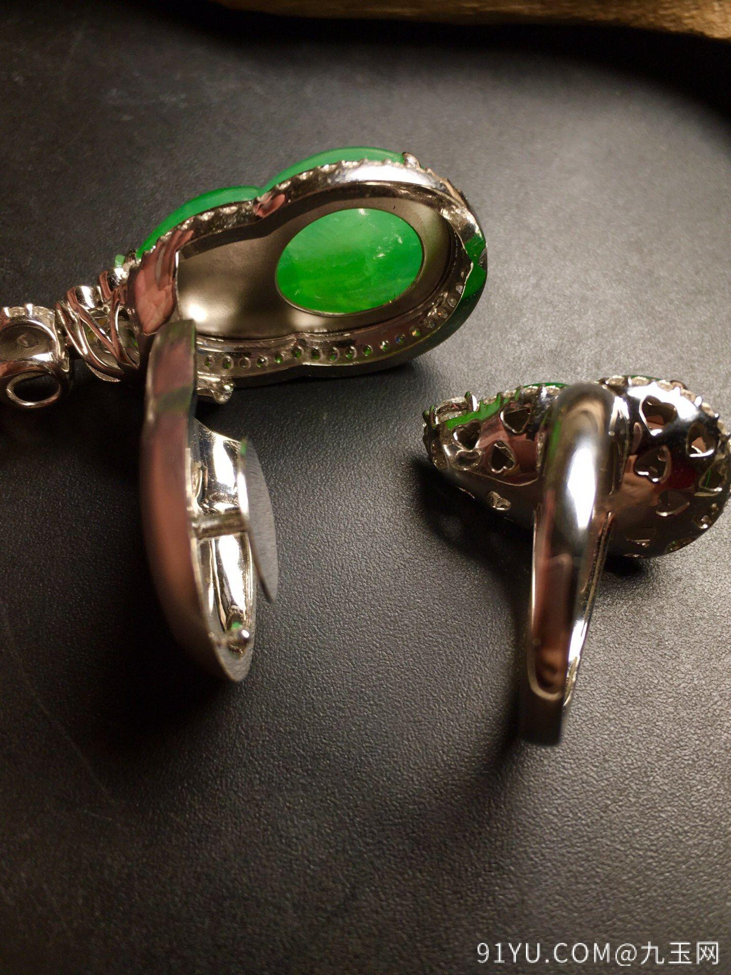 套【葫芦套装,冰正阳绿】通透,水润,完美,18k金华奢钻镶石嵌☕第6张