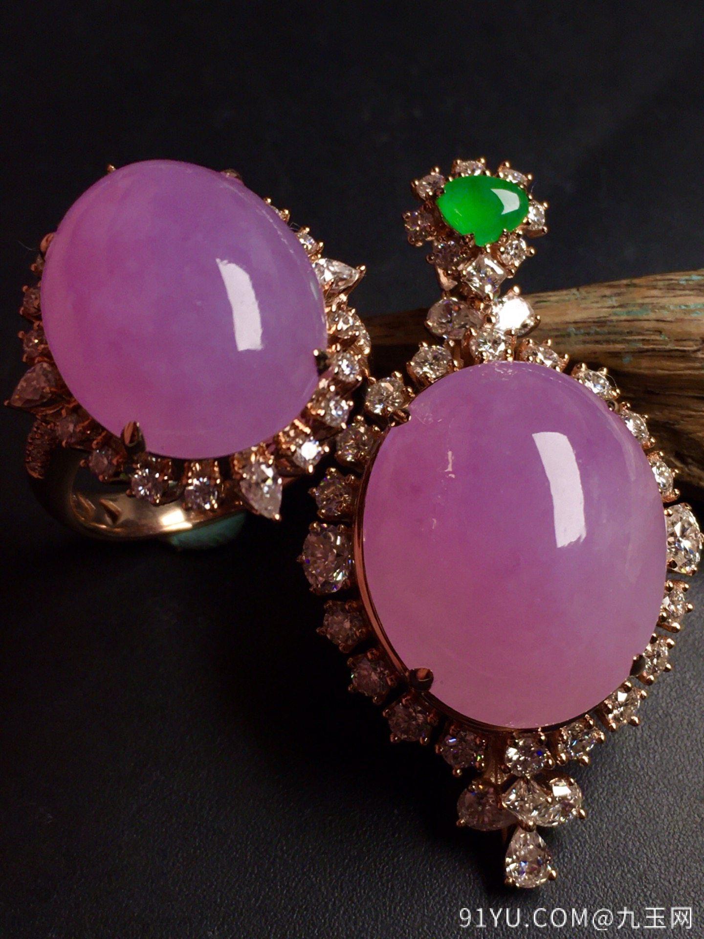 超值,美极了❤【套装,紫罗兰】通透,水润,完美,18k金华奢钻镶石嵌☕第3张