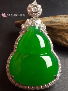 价:【大葫芦,冰正阳绿】通透,水润,完美,18k金华奢钻镶石嵌☕