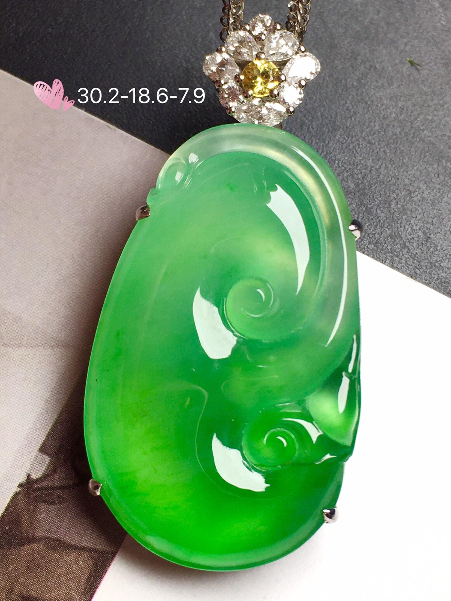 种和色美极了❤【如意,冰正阳绿】通透,水润,完美,18k金华奢钻镶石嵌☕