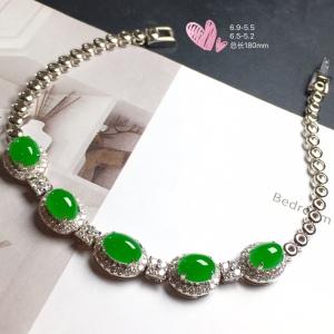 【手链,冰正阳绿】通透,水润,完美,18k金华奢钻镶石嵌☕