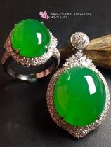 推荐❤行家可收藏仅一套,非常划算❤/套【套装,冰正阳绿】通透,润水细腻,完美,18k金华奢钻镶石嵌☕