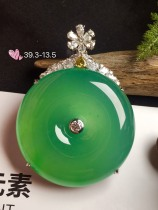 价:【平安扣,冰正阳绿】通透,润水细腻,完美,18k金华奢钻镶石嵌☕
