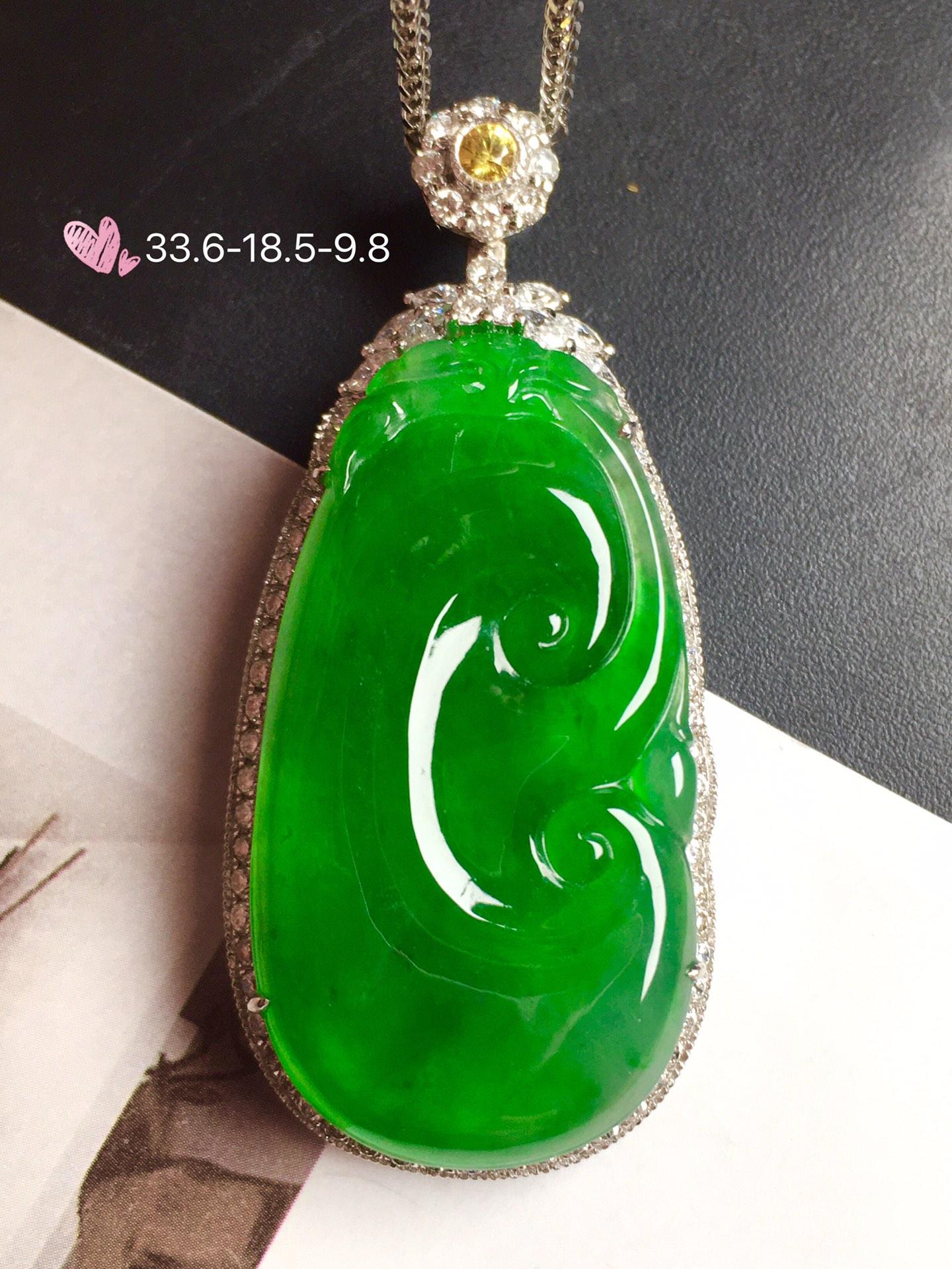 【如意,冰正阳绿】通透,润水细腻,完美,18k金华奢钻镶石嵌☕