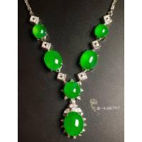 高冰阳绿绿蛋项链,18k金奢华钻石镶嵌