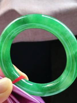 满绿圆条手镯,小圈口53.5
